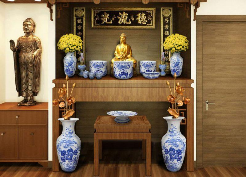 Tủ thờ gỗ tự nhiên kèm đồ thờ gốm sứ bát tràng