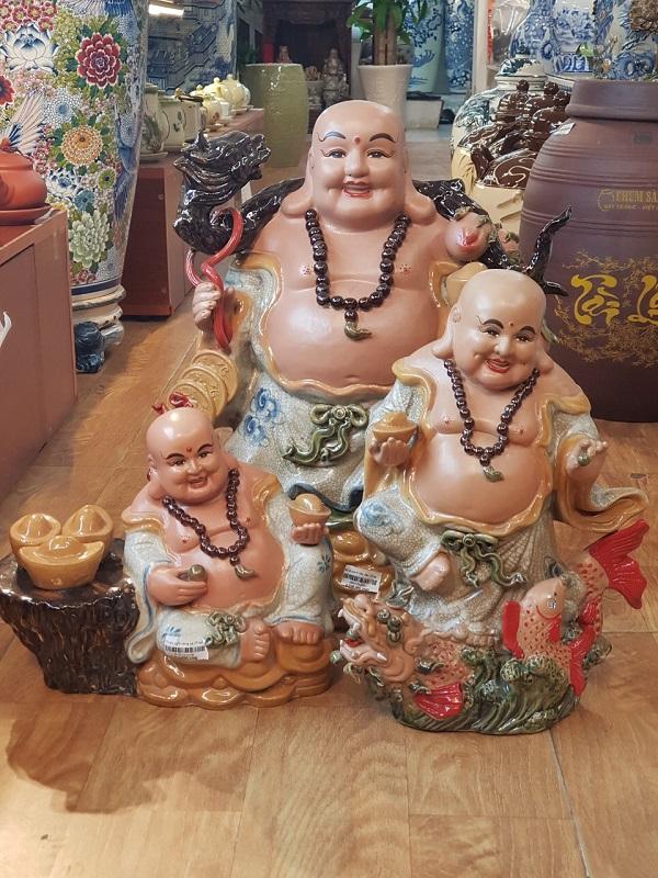 tượng thờ gốm bát tràng, tượng di lặc gánh tiền vàng