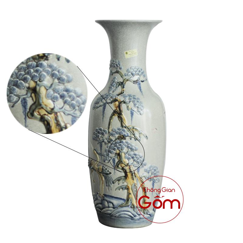 Lọ hoa đồ thờ men rạn Tùng Hạc