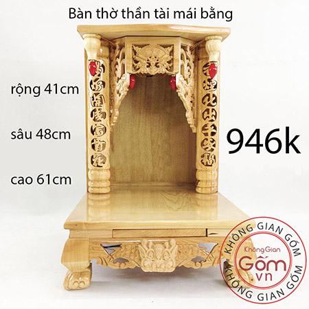 bàn thờ thần tài mái bằng
