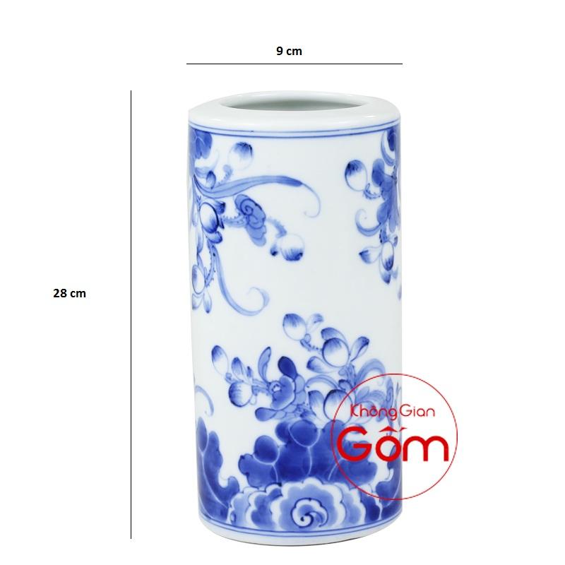 ống hương men xanh vẽ kỹ S1
