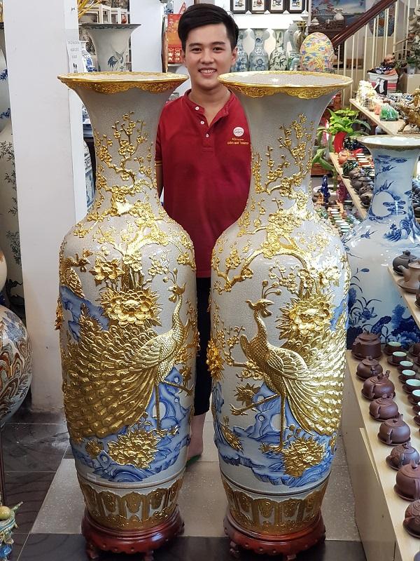 Chọn mua lộc Bình gốm Bát TRàng cao cấp dát vàng tại Không Gain Gốm