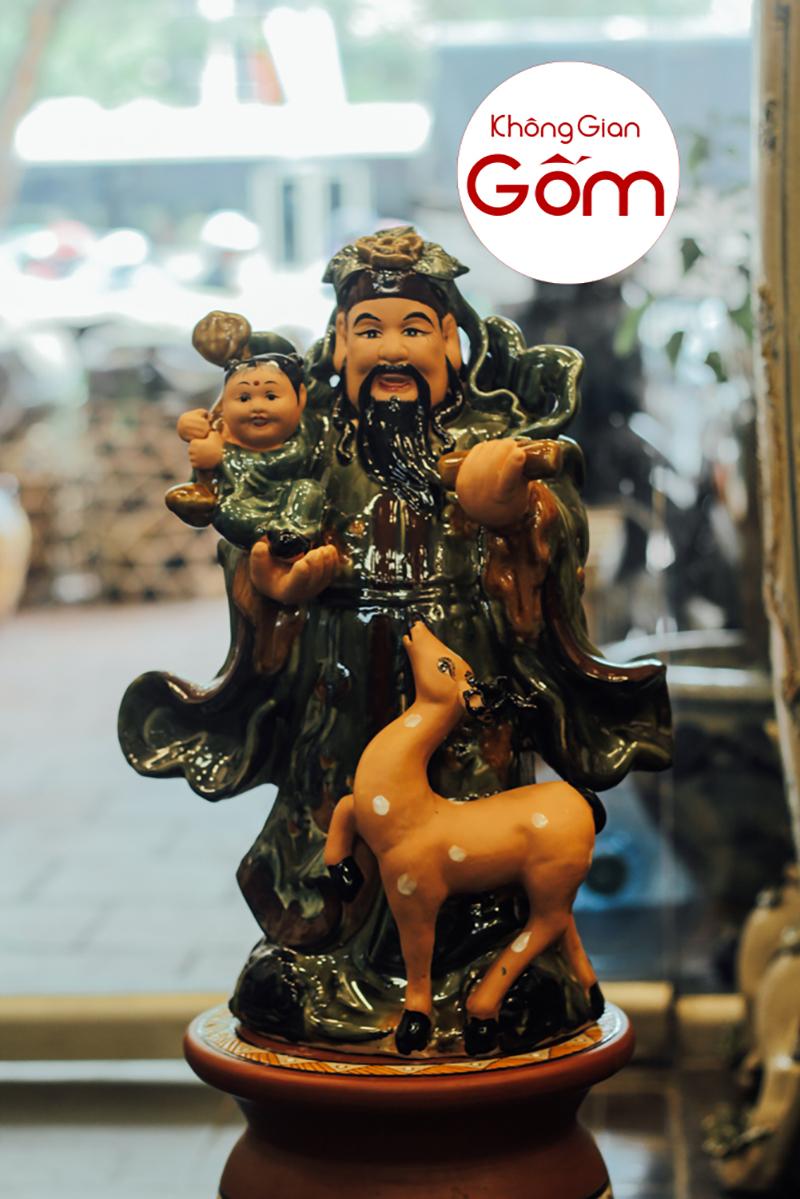 Tượng phúc lộc thọ bằng gốm sứ Bát Tràng