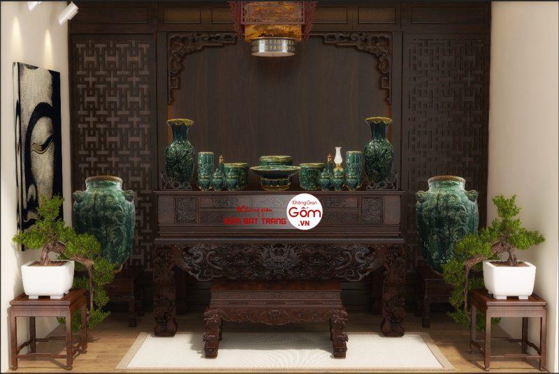 Bộ đồ thờ men ngọc Trần Độ thiết kế quý phái cổ trang đẹp mắt