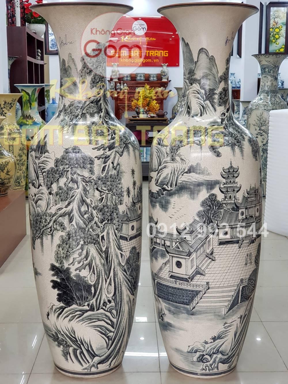 Lộc bình phong thủy vẽ tranh phong cảnh sơn thủy gốm sứ Bát Tràng