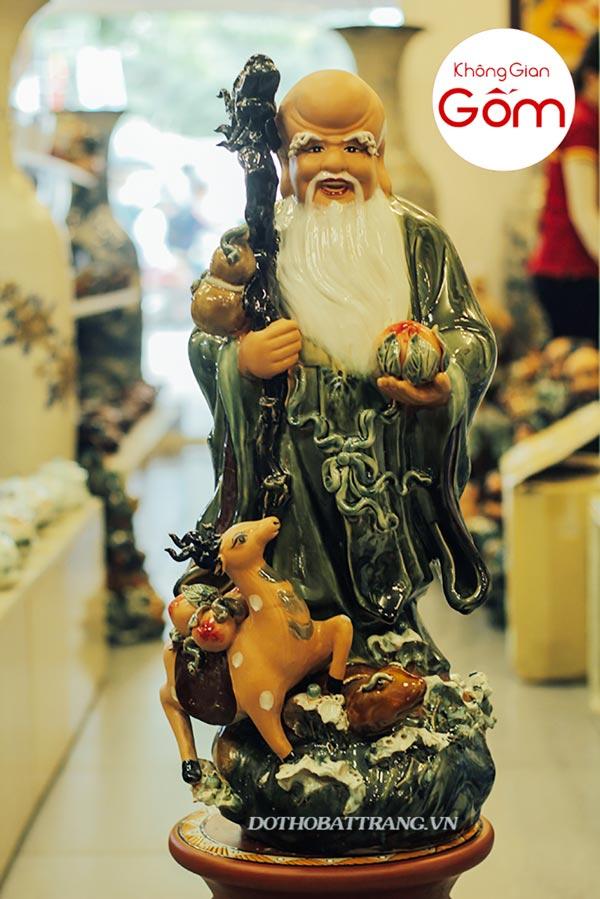 Bộ tượng phúc lộc thọ bằng gốm sứ Bát tràng cao cấp