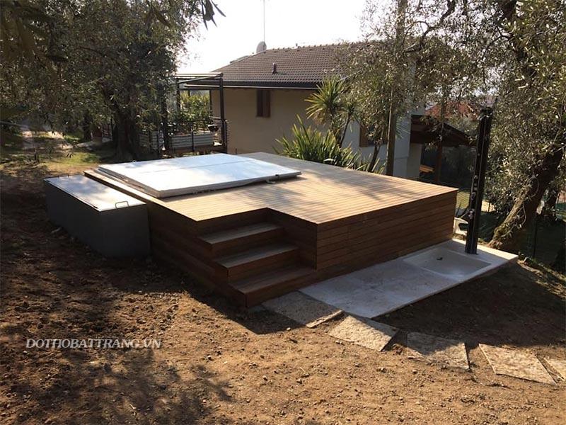 Xây bể tắm khung gỗ như spa không khó : bể sục jacuzzi