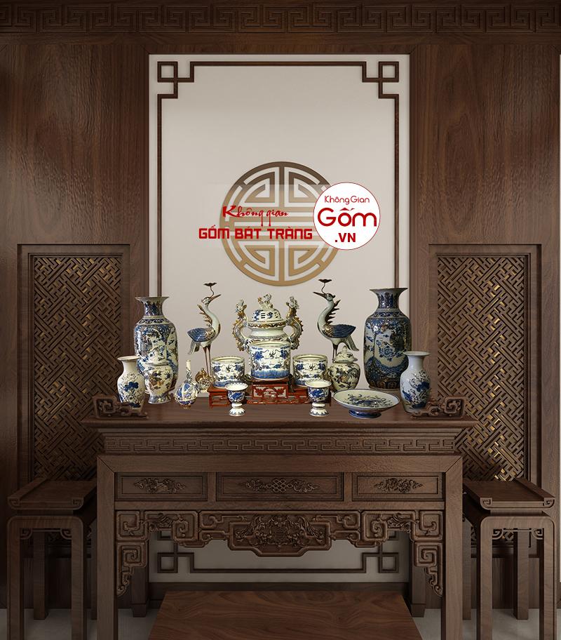 Tủ thờ gỗ tự nhiên kèm đồ thờ cúng gốm sứ Bát Tràng
