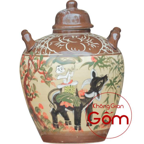 Vò ngâm rượu gốm Bát Tràng, phong thủy bếp và phòng ăn người mệnh Mộc.