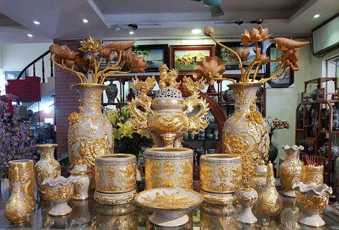Đồ thờ cúng dát vàng tại KHÔNG GIAN GỐM