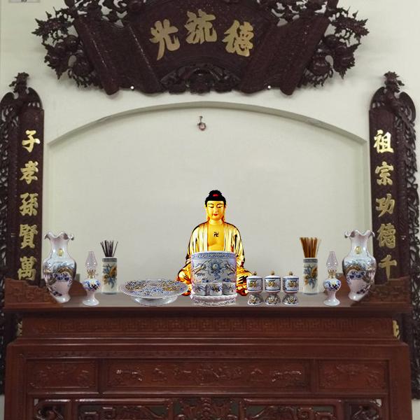 Tủ thờ kèm đồ thờ cúng gốm sứ Bát Tràng