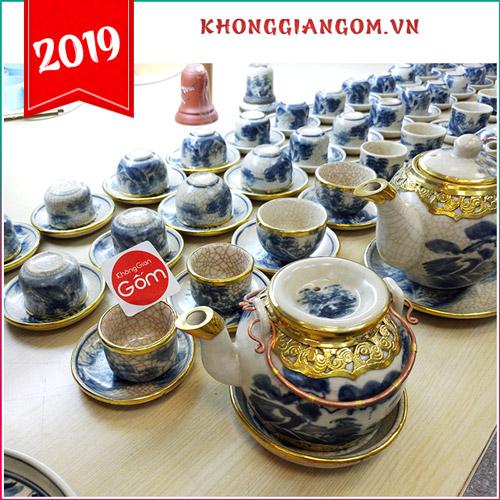 Bộ ấm trà men rạn bọc đồng gốm sứ Bát Tràng