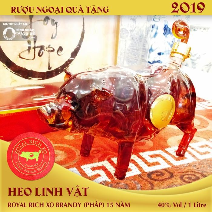 rượu heo xo pháp 2019 , rượu heo linh vật, rượu biếu tết 2019