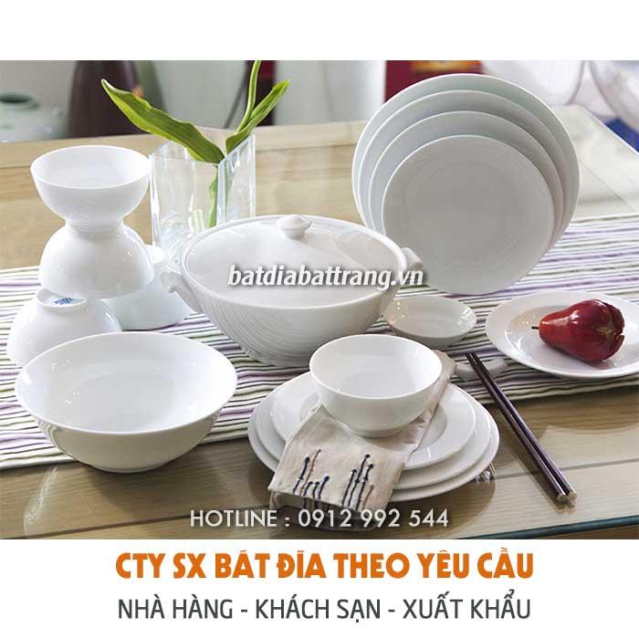 Mua đĩa sứ trắng đẹp, bát đĩa sứ trắng kiểu, chén dĩa in hoa